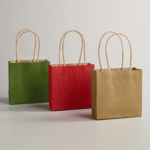Small Solid Kraft Value Gift Bags,  8-Pack