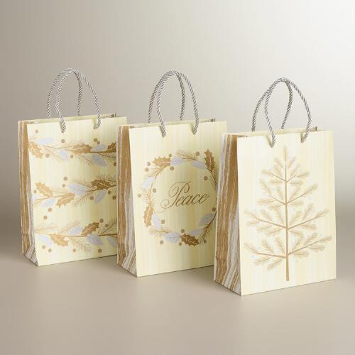 Medium Gold and Ivory Tree Value Gift Bags, 3-Pack