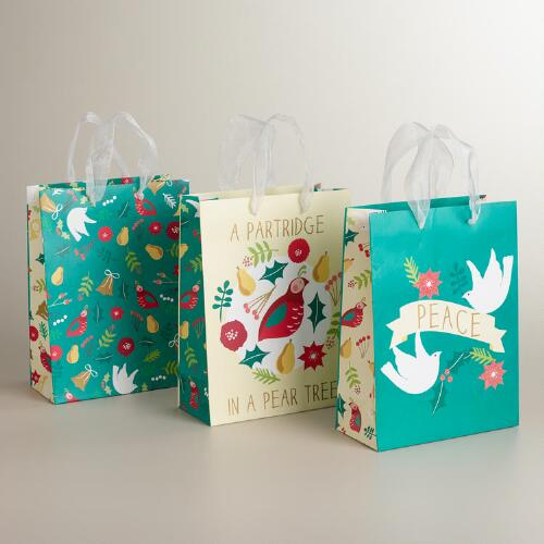 Medium Pear and Partridge Value Gift Bags, 3-Pack