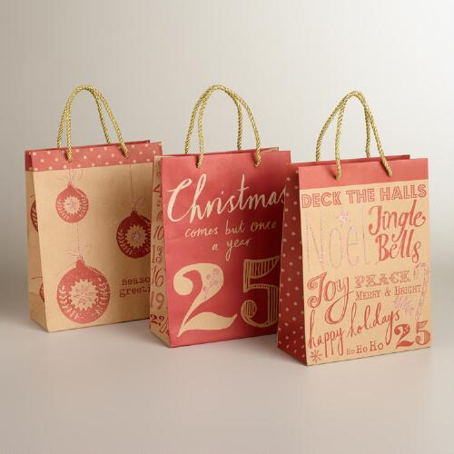 Medium Deck the Halls Value Gift Bags, 3-Pack