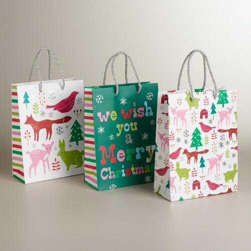 Medium Pastel Woodland Creatures Value Gift Bags, 3-Pack