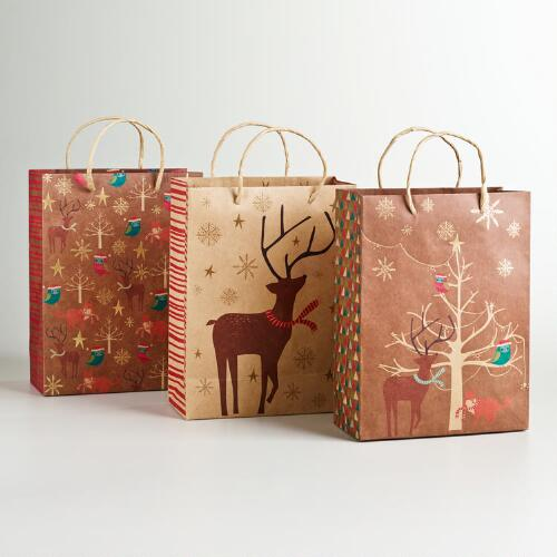 Medium Woodland Creatures Kraft Value Gift Bags, 3-Pack