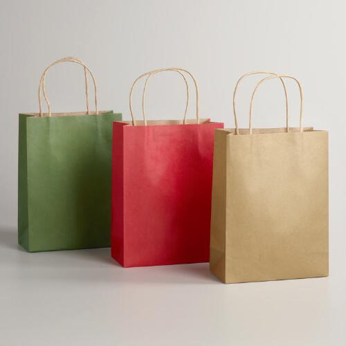 Medium Solid Kraft Value Gift Bags, 6-Pack