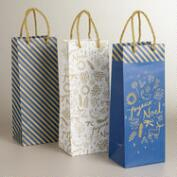 Joyeux Noel Value Wine Bags, 3-Pack