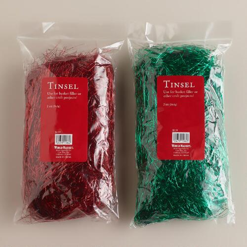 Red and Green Basket Filler Tinsel, Set of 2