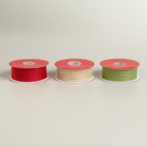 Red, Green and Natural Jute Ribbon, Set of 3