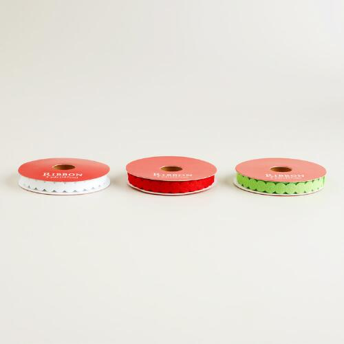 Red, Green and White Narrow Circle Ribbons, 3-Pack