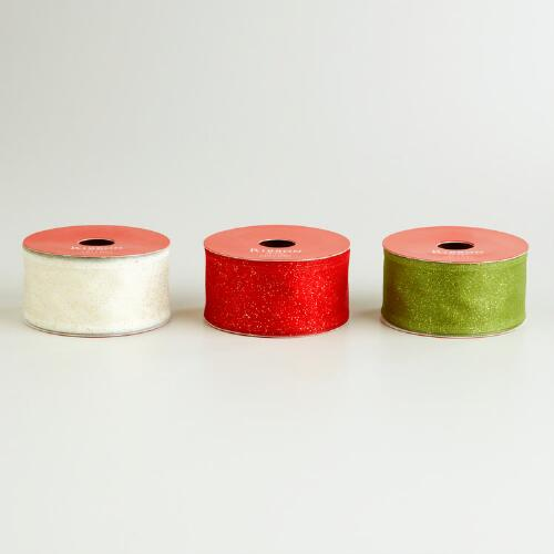 Red, Green and Cream Glitter Organza Ribbon, Set of 3