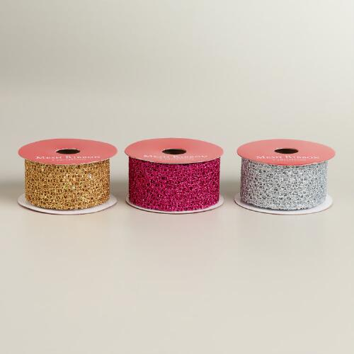 Gold, Silver and Pink Metallic Mesh Ribbon, Set of 3