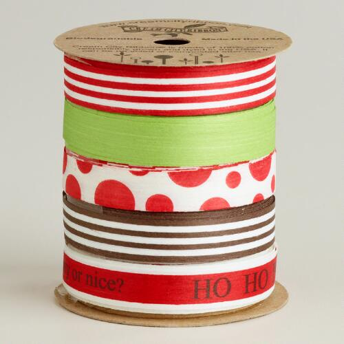 Paper and Wood Ribbon,  Set of 5