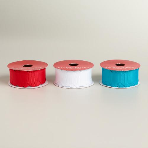 White, Red and Teal Ric Rac Ribbon, Set of 3