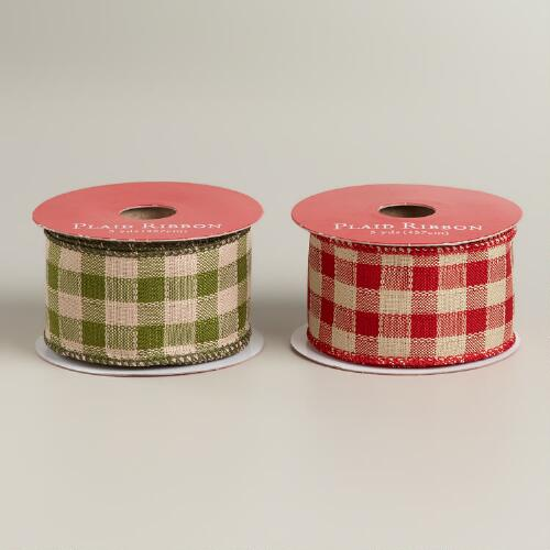 Red and Green Plaid Ribbon, Set of 2