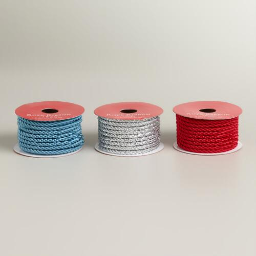 Silver, Blue and Red Rope Ribbon, 3-Pack