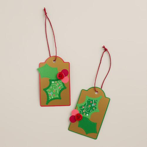 Holly Gift Tags, Set of 2