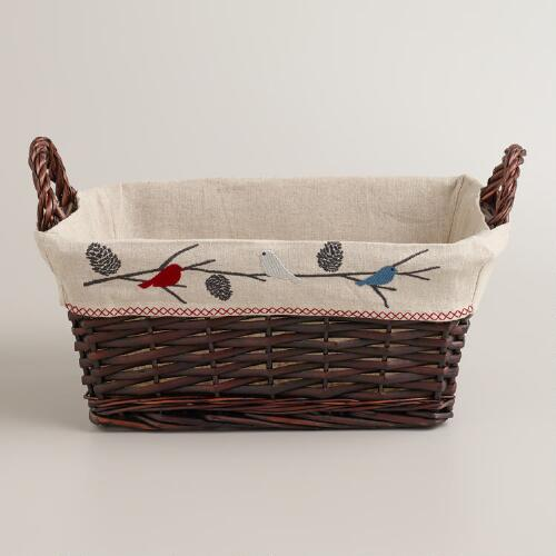 Snow Birds Serving Basket