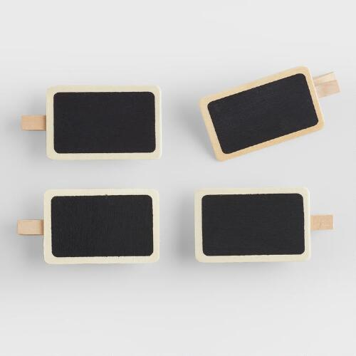Wooden Chalkboard Clips, Set of 4