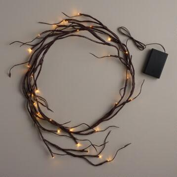Brown Wrapped Willow Garland Lights