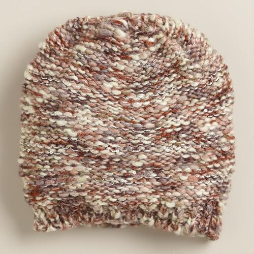 Natural Sequined Marled Hat
