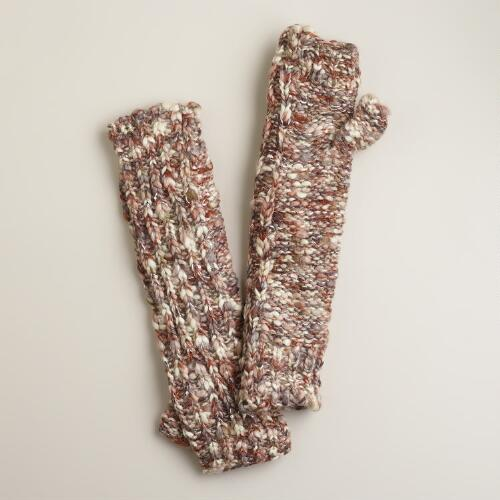 Natural Marled Arm Warmers