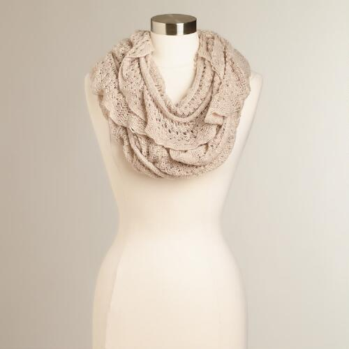 Oatmeal Lacy Infinity Scarf