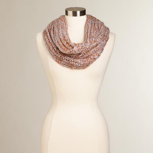 Natural Sequined Funnel Scarf