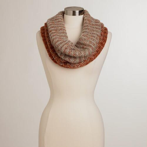 Gray and Rust Wide Funnel Neck Scarf