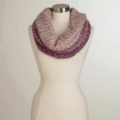 Gray and Purple Wide Funnel Neck Scarf