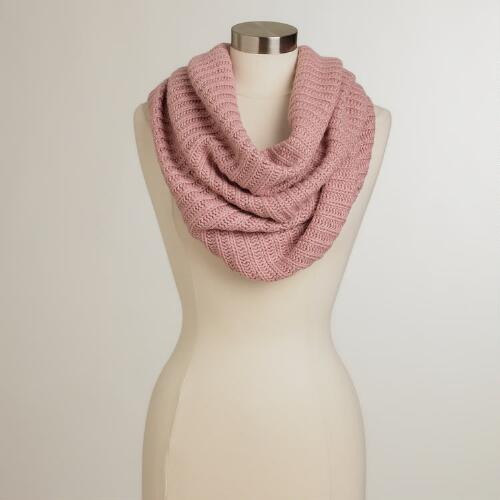 Blush Ribbed Infinity Scarf