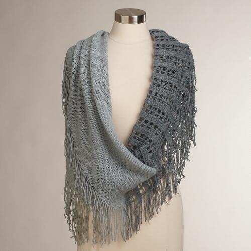 White and Gray Two-Toned Fringed Infinity Scarf