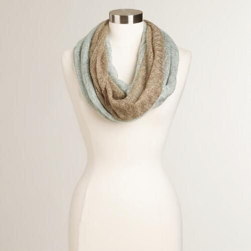Mint and Taupe Two-Toned Infinity Scarf