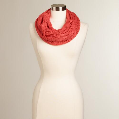 Coral Woven Infinity Scarf