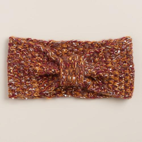 Warm Sequined Knot Head Warmer