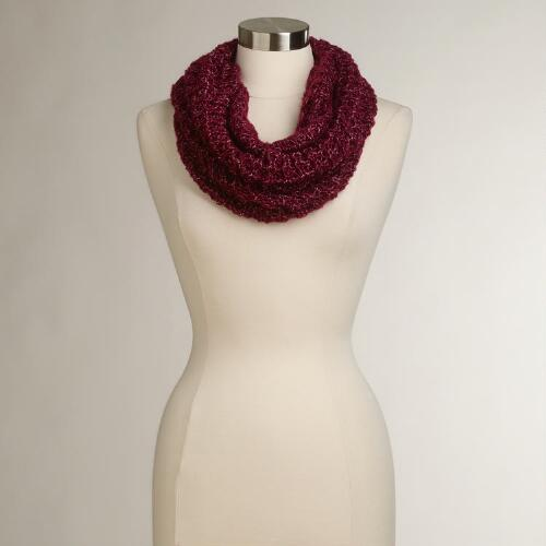 Wine Woven Funnel Scarf