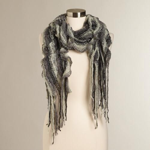 Black and Gray Ruffle Scarf