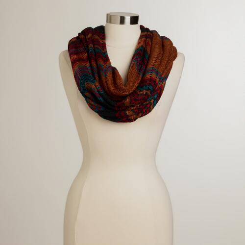 Brown, Red and Green Chevron Infinity Scarf