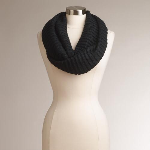 Black Ribbed Infinity Scarf