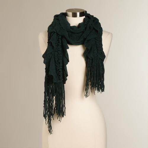Dark Green Ruffle Scarf