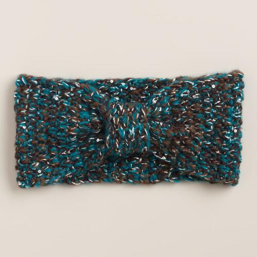 Green Marled Sequined Head Warmer