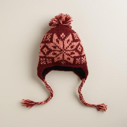 Wine Snowflake Hat