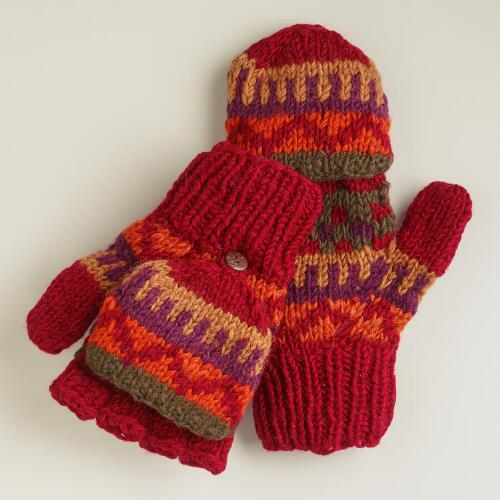 Red Fairisle Glittens