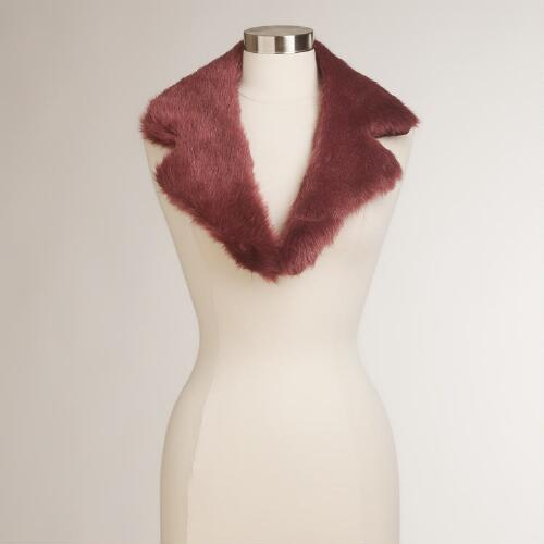 Wine Faux Fur Collar