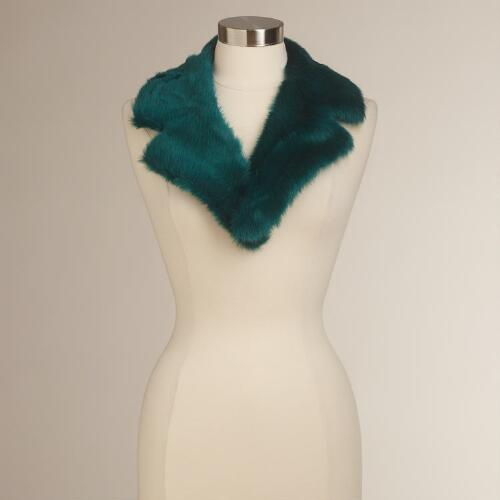 Teal Faux Fur Collar