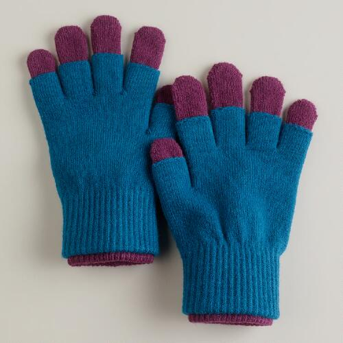Teal and Purple 3-in-1 Knit Gloves