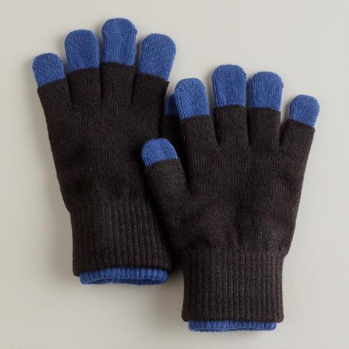 Black and Blue 3-in-1 Knit Gloves