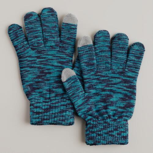 Black and Teal Marled Touch Screen Gloves