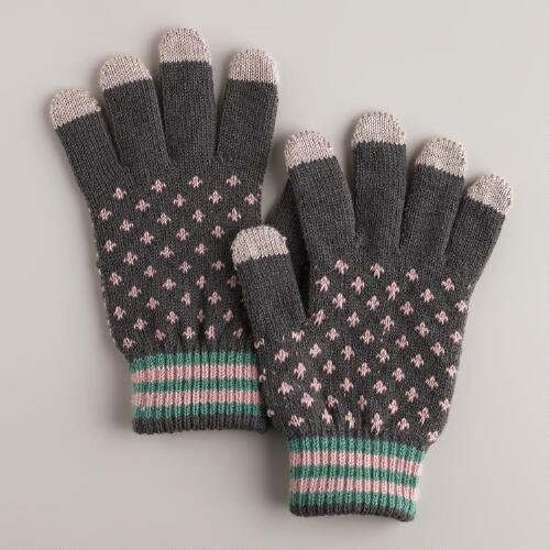 Gray and Pink Dotted Touch Screen Gloves