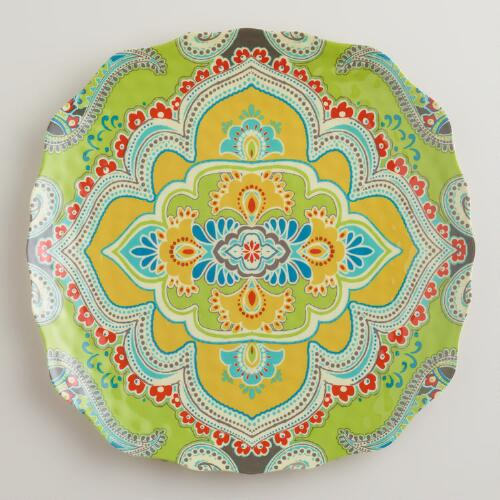 Green Paisley Santorini Plates, Set of 4