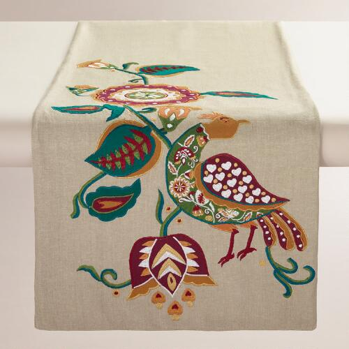 Folk Bird Floral Cotton Table Runner