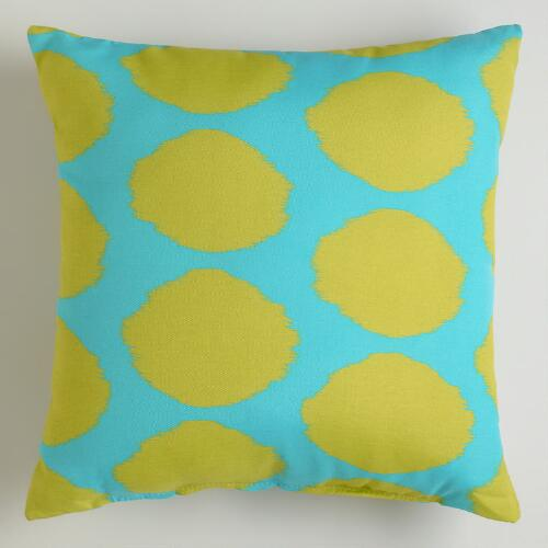 Green and Aqua Dotted Ikat Outdoor Throw Pillow