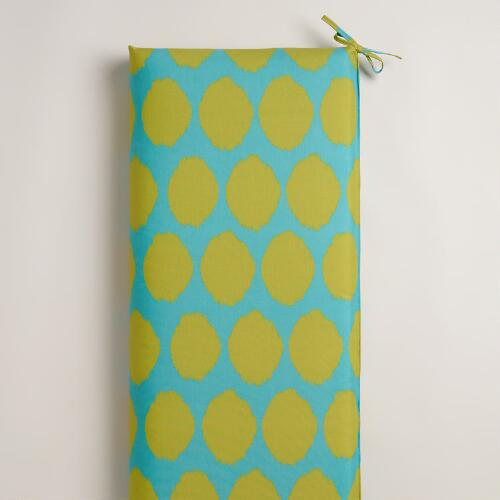 Green and Aqua Dotted Ikat Outdoor Bench Cushion